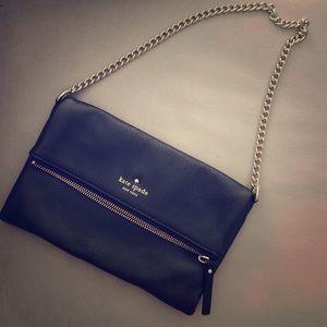 Kate Spade - black leather clutch/shoulder bag